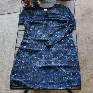 Cabi Floral Watercolor Noel Semi Sheer Shift Dress